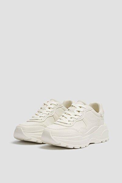 Kadın Beyaz Kalın Tabanlı Spor Ayakkabı 11216740