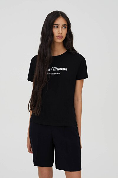 Kadın Siyah Sloganlı Kısa Kollu T-Shirt 09244325