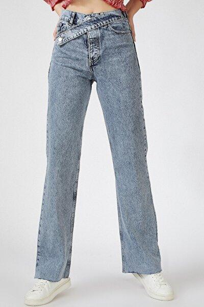 Kadın Orta Mavi Kemer Detaylı Yüksek Bel Jean US00456