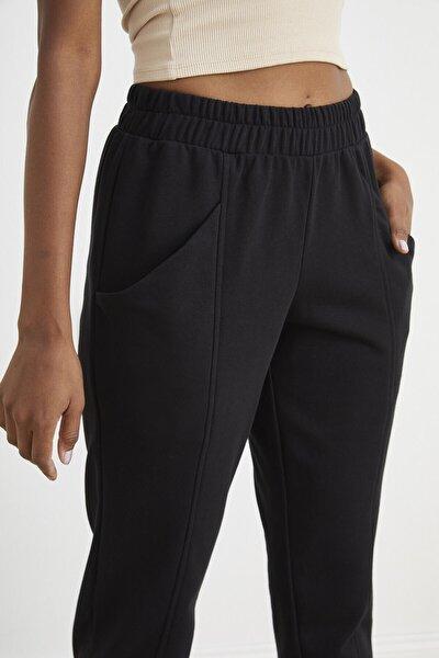 Siyah Dar Paça Jogger Pantolon