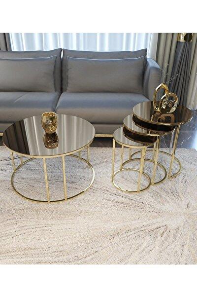 Zigon Ve Orta Sehpa Seti Gold Metal Ayak Bronz Aynalı Takım