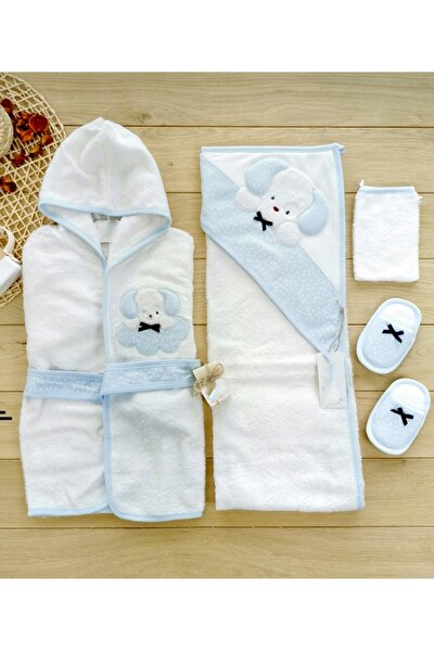Unisex Çocuk Mavi Sevimli Köpekcik Bornoz Banyo Seti