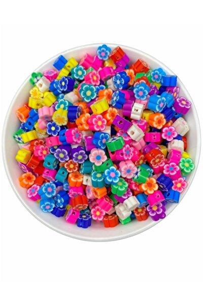 25 Adet Polimer Kil Fimo Karışık Renkli Çiçek Figür Boncuk,takı Yapımı