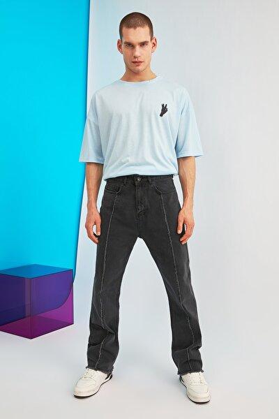 Antrasit Erkek Önden Pis Dikişli Straight Fit Jeans TMNSS21JE0057
