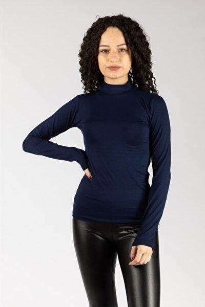 Kadın Lacivert Uzun Kollu Likralı Penye Body