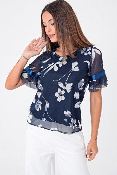 Kadın Lacivert İspanyol Kol Çiçek Desenli Bluz S-21K3070001