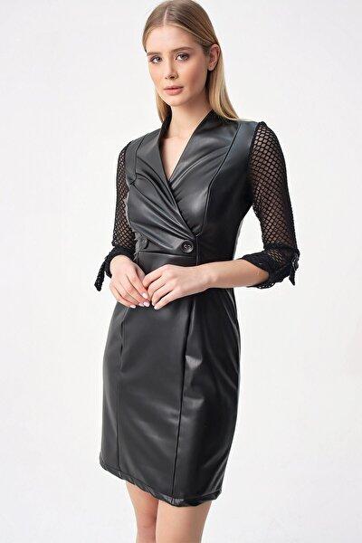 Kolu Petek Desen Tüllü Düğme Detaylı Içi Peluş Velvet Deri Elbise Siyah