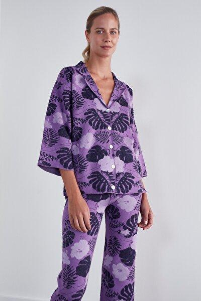 Kadın Mor Desenli Triko Ceket