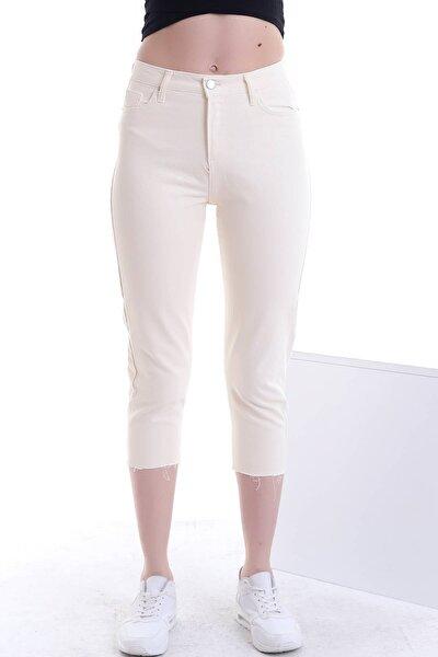 Kadın Ekru Yüksek Bel Cepli Paçası Kesik Renkli Mom Kot Pantolon