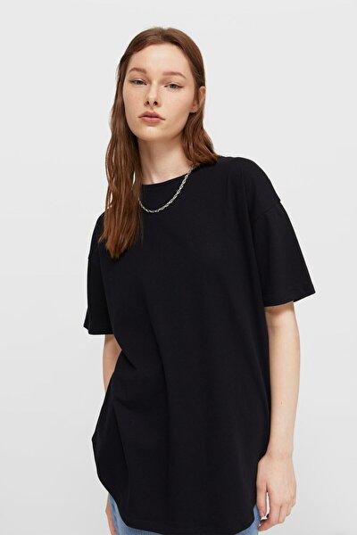 Kadın Siyah Uzun Basic T-shirt