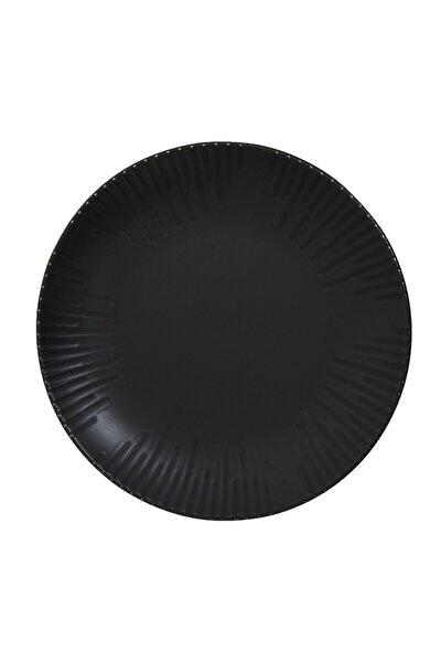 Tulu Porselen Mat Siyah Servis Tabağı - 24 Cm