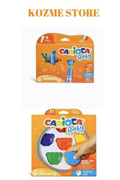 Kozme Store - Jumbo Süper Yıkanabilir Keçeli Boya Kalemi 6lı & Baby Teddy Crayons 6lı