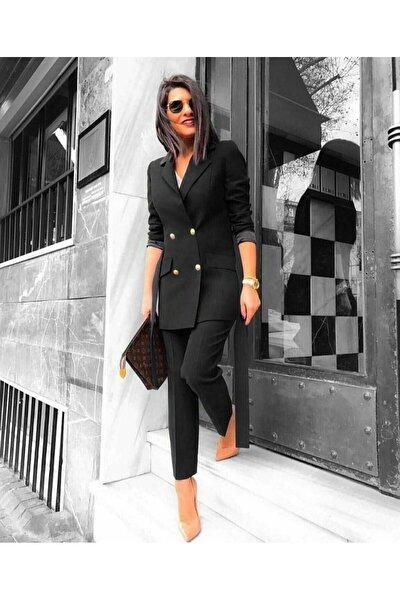 Kadın Siyah Double Kumaş Ikili Takım Ceket Pantolon