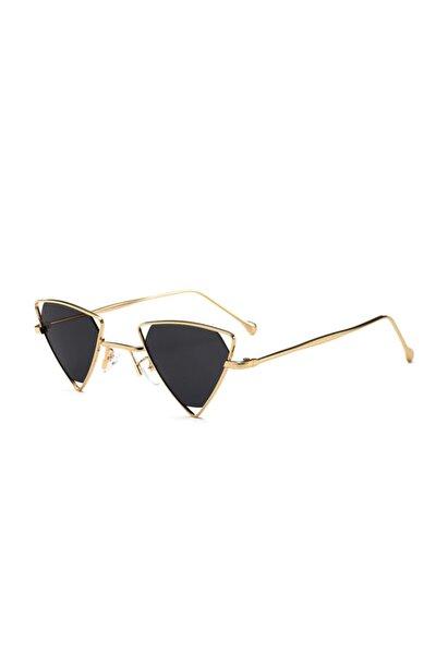 Siyah Üçgen Gözlük   Vintage & Retro Steampunk Triangle Sunglasses