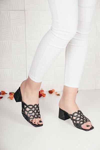 Kadın Siyah Yuvarlak Çiçekli Taşlı Sandalet Terlik Ba20468