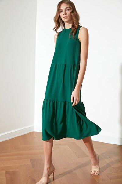 Zümrüt Yeşili Geniş Kesim Elbise TWOSS20EL1864