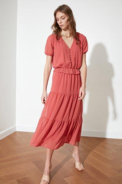 Kiremit Düğme Detaylı Elbise TWOSS21EL1175