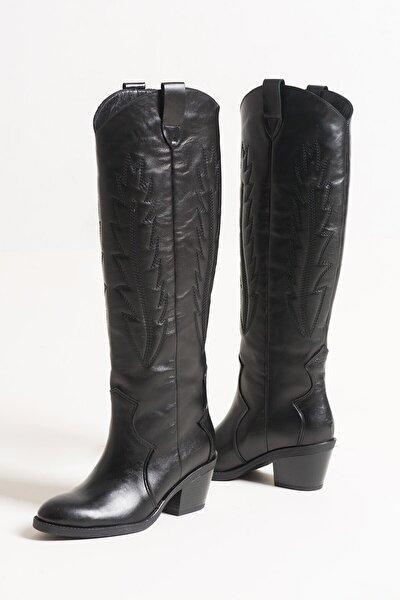 31065 Siyah Cilt Kadın Çizme