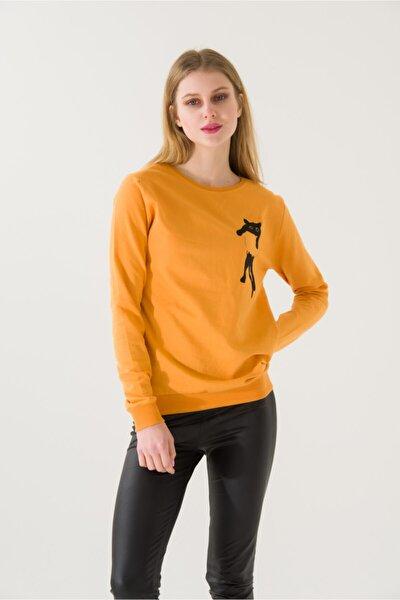 Kadın Slim Fit Kedi Baskı Baskılı Hardal Sweatshirt 4772b2