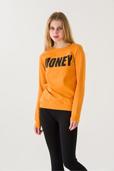 Kadın Slim Fit Money Baskılı Hardal Sweatshirt 4643