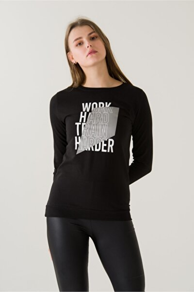 Kadın Slim Fit Work Hard Train Baskılı Siyah Sweatshirt 4683b2