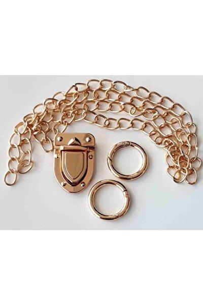 Light Gold Renk Ince Zincir Uzun Kilit Set