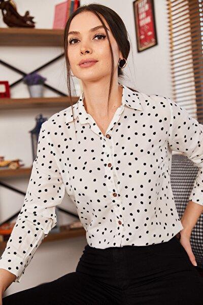 Kadın Beyaz Puanlı Uzun Kol Gömlek ARM-20K001022