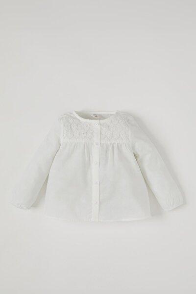 Kız Bebek Dantel Detaylı Pamuklu Gömlek