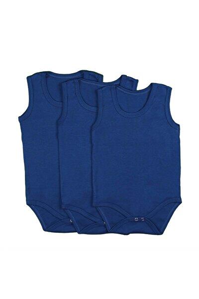 Bebek Badi Seti Kolsuz Düz Renk 1-2-3 Yaş 3 Adet - Koyu Mavi - 1 Yaş