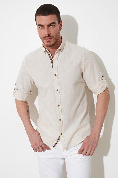 Taş Erkek Düğmeli Yaka Apoletli Slim Fit Uzun Kollu Gömlek TMNSS20GO0189
