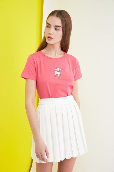 Pembe Nakışlı Basic Örme T-Shirt TWOSS21TS0197