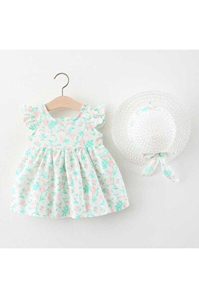 Mint Yeşil Çiçek Detaylı Elbise Ve Şapka 2'li Set