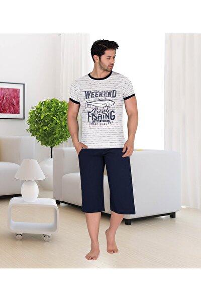 Erkek Pijama Takımı Çizgili Üst Ve Kaprili