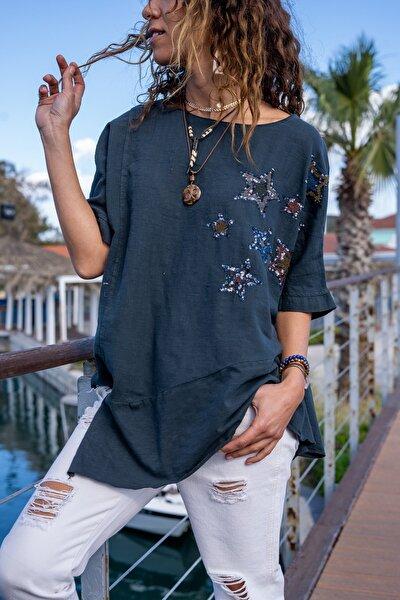 Kadın Antrasit Yıkamalı Keten Yıldız Pullu Asimetrik Kesim Salaş Bluz GK-RSD2022