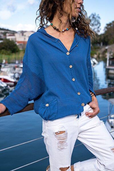 Kadın İndigo Yıkamalı Keten Fileli Bağlamalı Kapüşonlu Bluz GK-RSD2021