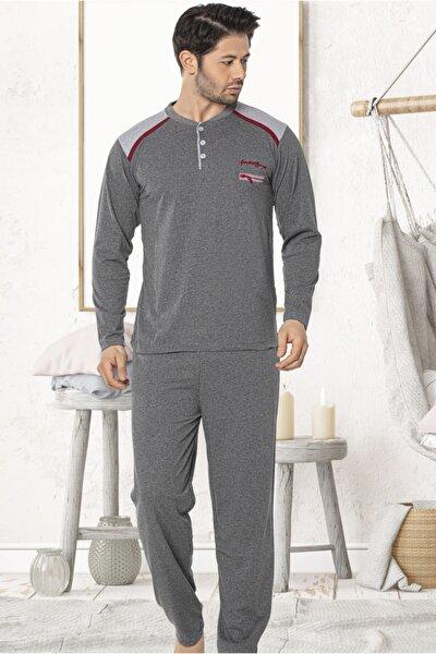 Erkek Antrasit Uzun Kollu Yarım Patlı Fermuar Nakışlı Pijama Takımı