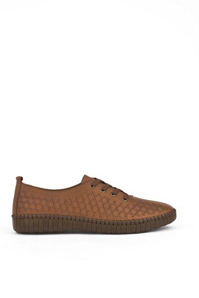 , Kadın Hakiki Deri Ayakkabı 111415 Z394033 Taba