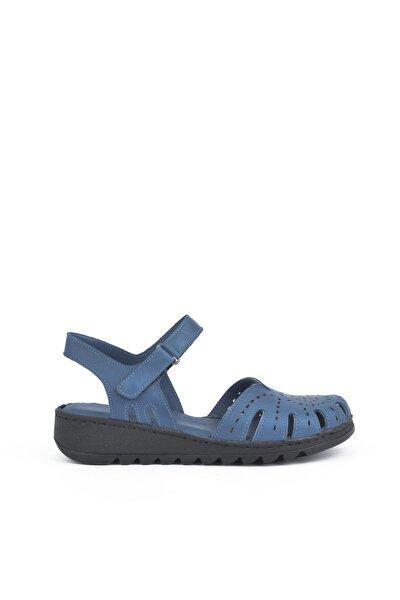 , Kadın Hakiki Deri Sandalet 111354 204 Mavı