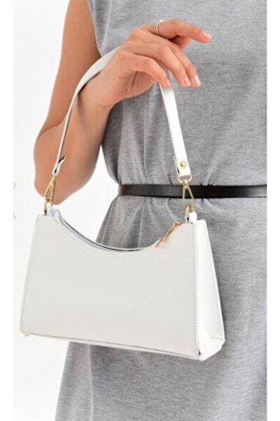 Kadın Beyaz Baguette El Ve Omuz Çanta