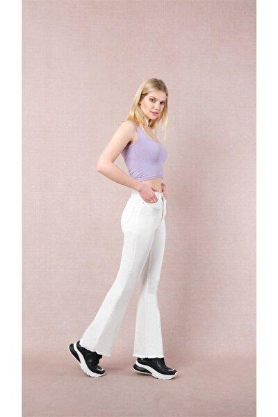 Kadın Beyaz İspanyol Paça Kot Jeans