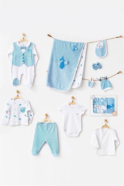 Erkek Bebek Mavi Cute Whale 10'lu Hastane Çıkış Seti Ac21541