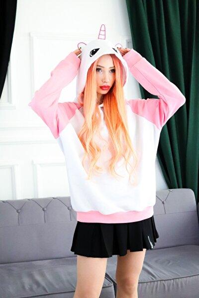Kadın Beyaz Kolları Renk Bloklu Kapüşonlu Unicorn Iİşlemeli Sweatshirt