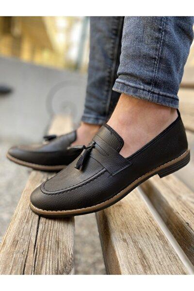 Erkek Siyah Günlük Püsküllü Klasik Ayakkabı