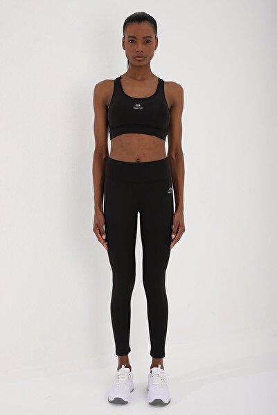 Siyah-siyah Kadın Simli Yüksek Bel Toparlayıcılı Çapraz Sırt Detaylı Tayt Takım - 95282