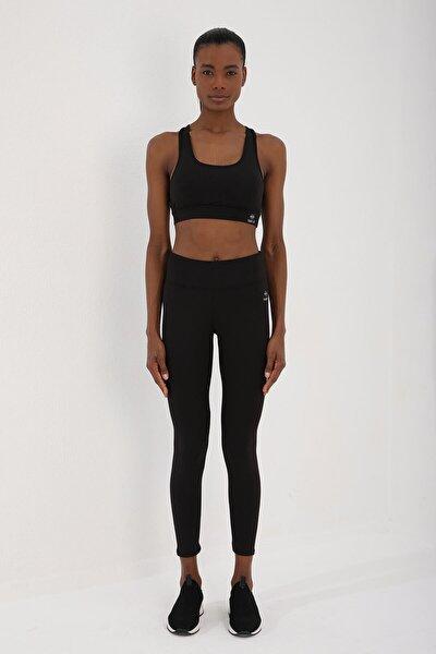 Siyah Kadın Yüksek Bel Toparlayıcılı Sırt Detaylı Büstiyer Tayt Takım-95281