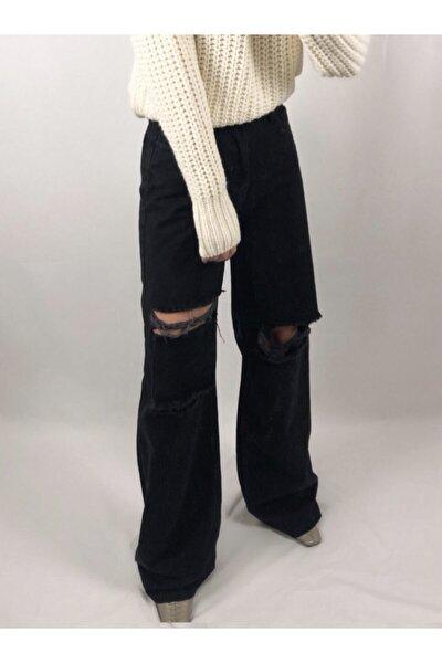 Kadın Siyah Yırtık Detaylı Yüksek Bel Wide Leg Jeans
