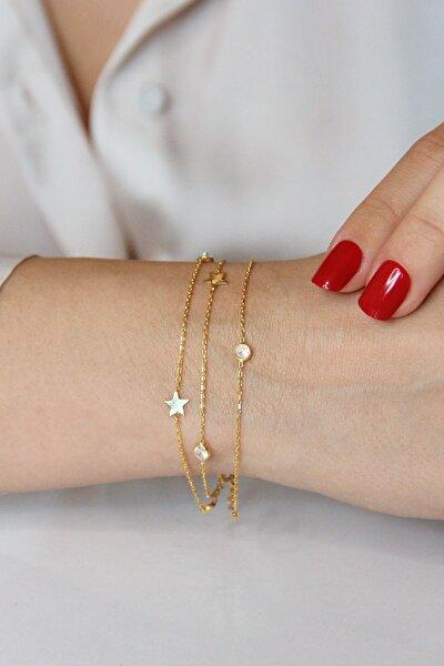 Kadın Altın Kaplamalı Gümüş Yıldızlı Ve Taşlı Üç Zincirli Bileklik - B080701