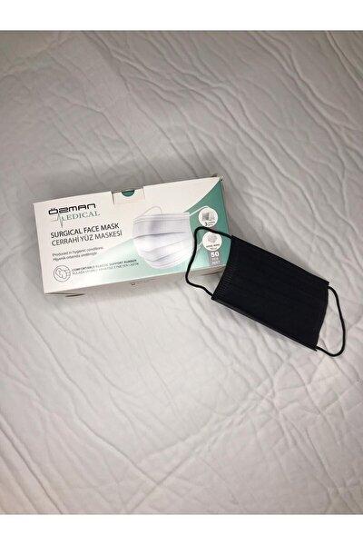 Üç Katlı Telli Siyah Cerrahi Maske 100 Adet (50 Adet x 2 Kutu)