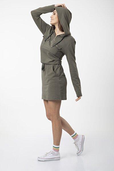 Kadın Haki Kapüşonlu Penye Sweat Elbise