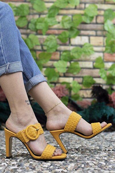 Kadın Sarı Yüksek Topuklu Terlik 0012902